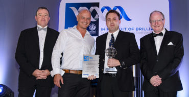 Above: Alywyn Muller from Easy Flex (second left), presents David Nienaber, General Works Manager of Anderson Engineering (second from right) with the WINNING trophy for Product Development. Also pictured is Charles Cammell, Chairman of SASSDA (far left) and John Tarboton, Executive Director of SASSDA (far right).