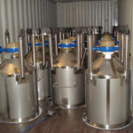 300L tote bins, in container ready for transport