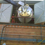 Installation and commissioning 2000 l processing vessel with 3600 l storage tank in factory