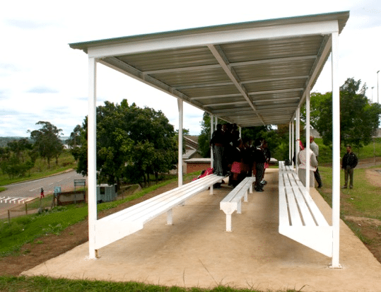 The new waiting shelter at Eastwood Secondary School, built and installed by Anderson Engineering