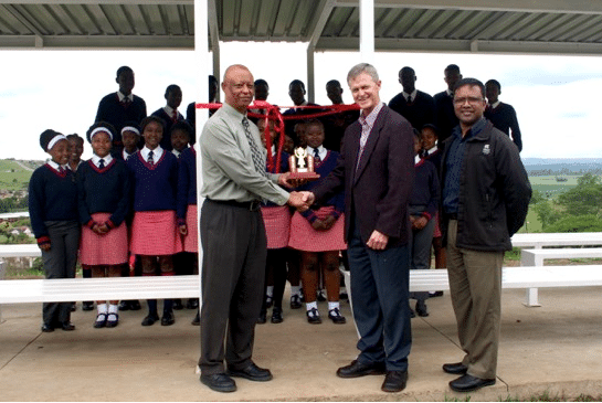 Principal of Eastwood Secondary School, Mr Ramphal with Mr Hans Coertse and Trevor Govender of Anderson Engineering